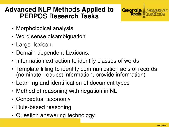 Advanced NLP Methods Applied to PERPOS Research Tasks