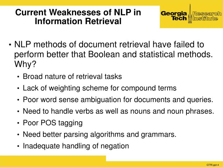 Current Weaknesses of NLP in Information Retrieval