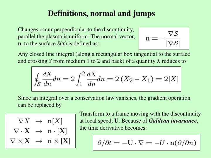 Definitions, normal and jumps