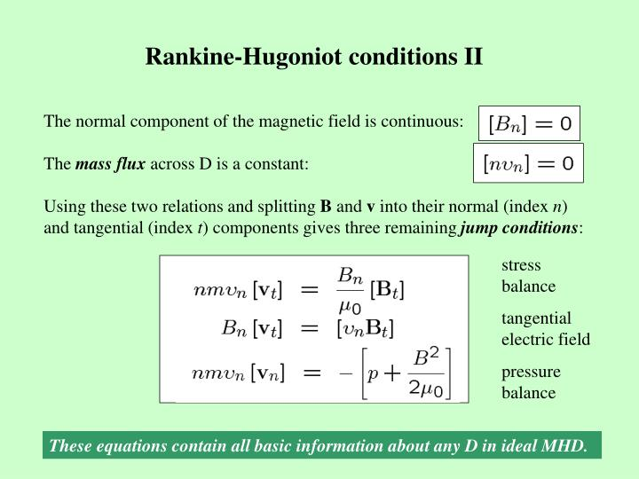 Rankine-Hugoniot conditions II