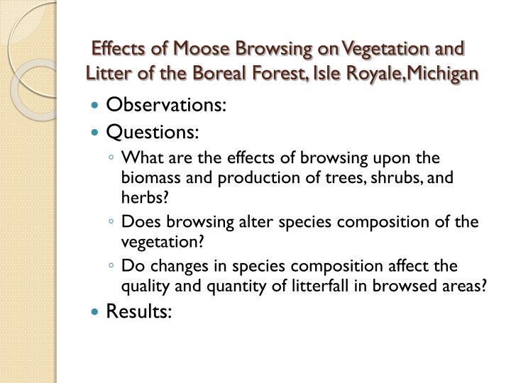 Effects of Moose Browsing on Vegetation and Litter of the Boreal Forest, Isle Royale,Michigan