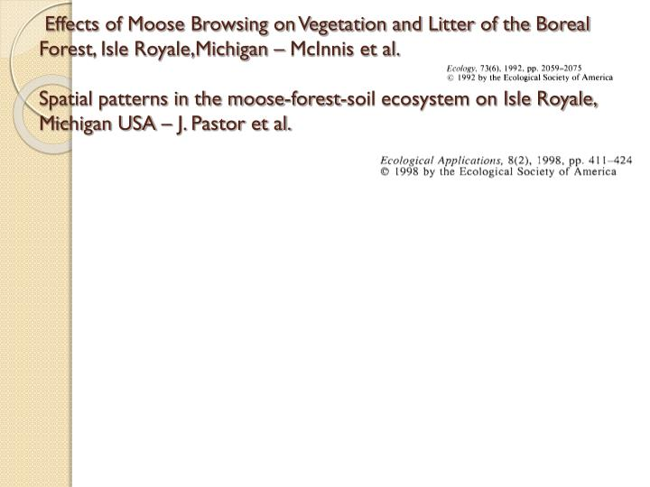 Effects of Moose Browsing on Vegetation and Litter of the Boreal Forest, Isle Royale,Michigan – McInnis et al.