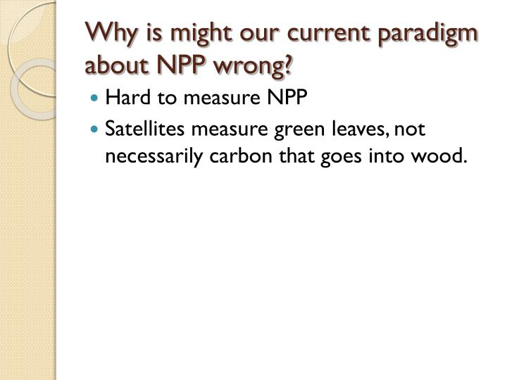 Why is might our current paradigm about NPP wrong?