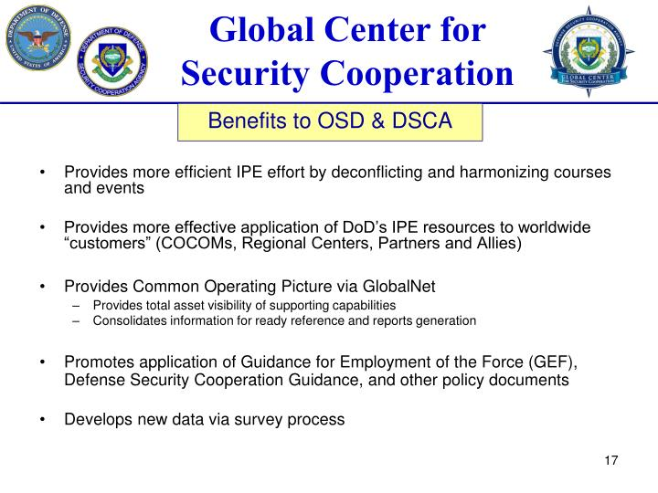 Provides more efficient IPE effort by deconflicting and harmonizing courses and events