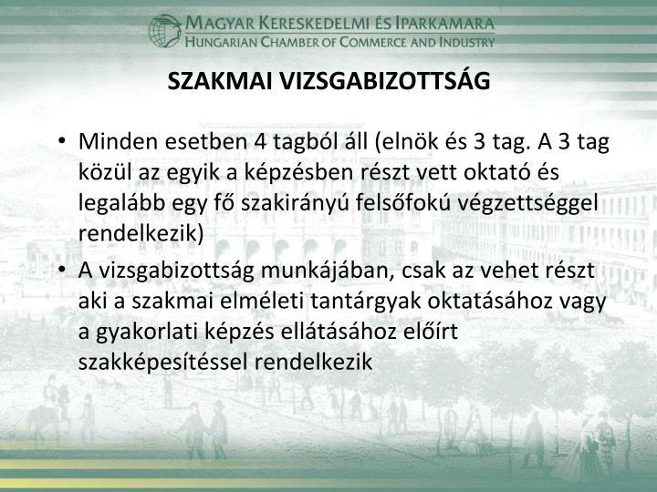 SZAKMAI VIZSGABIZOTTSÁG