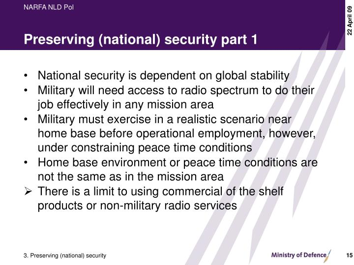 Preserving (national) security part 1