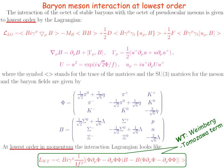 Baryon meson interaction at lowest order
