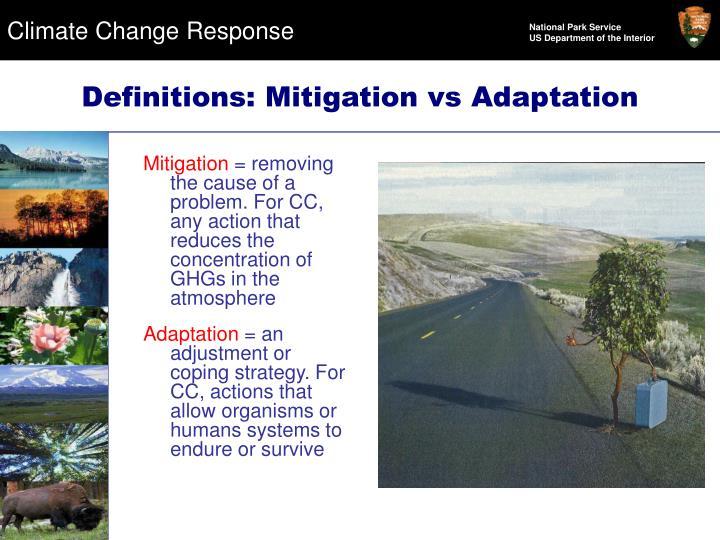 Definitions: Mitigation vs Adaptation