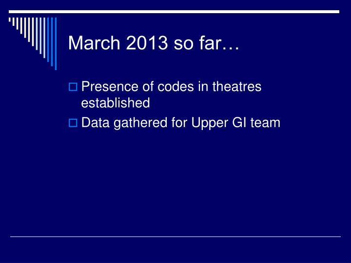 March 2013 so far…