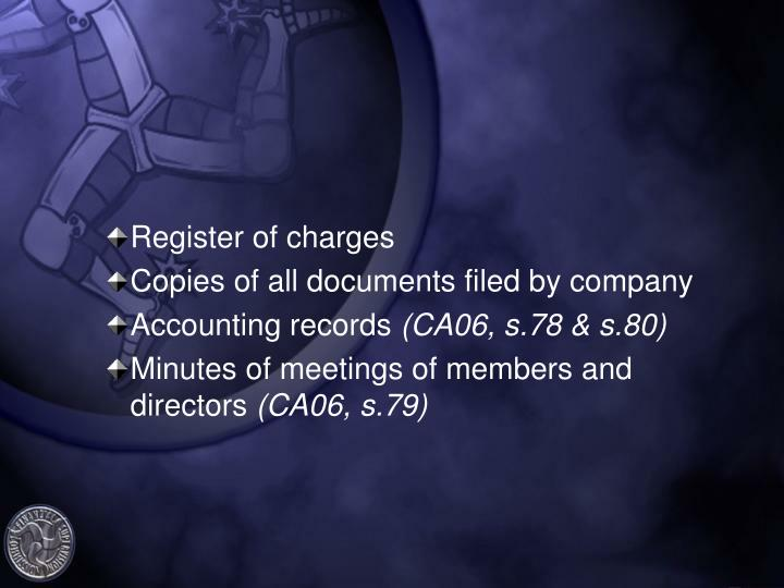 Register of charges