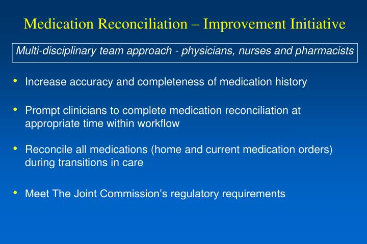 Medication Reconciliation – Improvement Initiative
