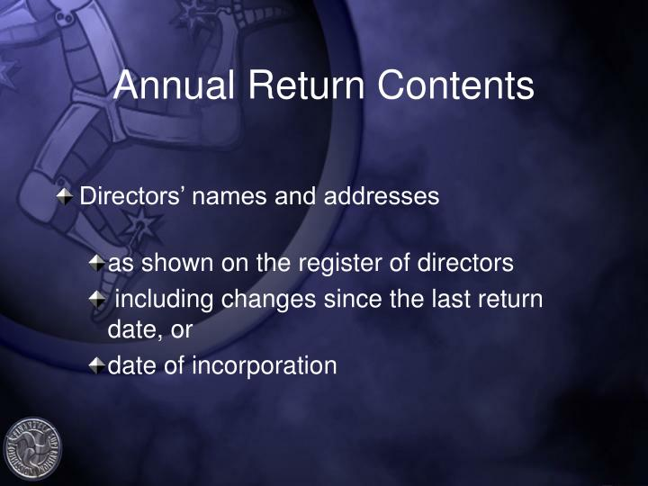 Annual Return Contents