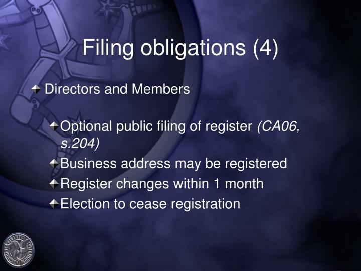 Filing obligations (4)