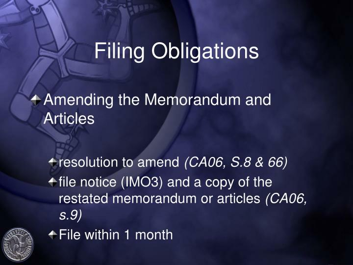 Filing Obligations