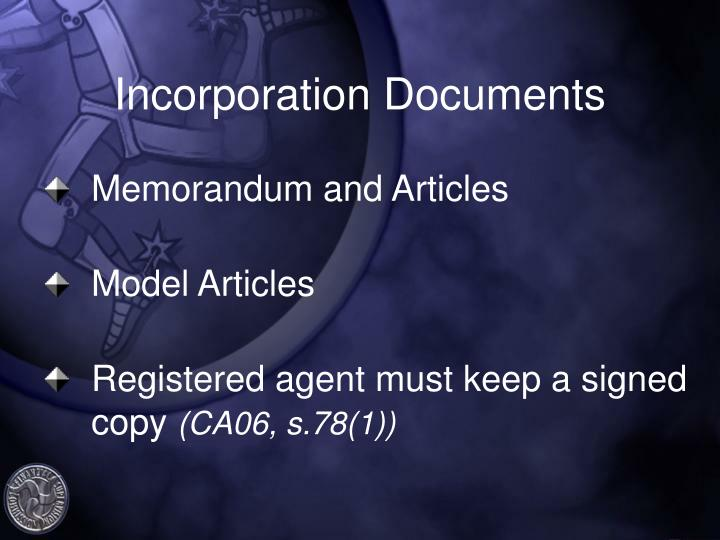 Incorporation Documents