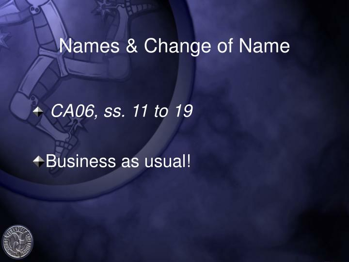 Names & Change of Name