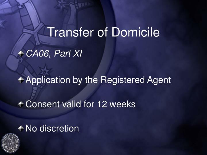 Transfer of Domicile