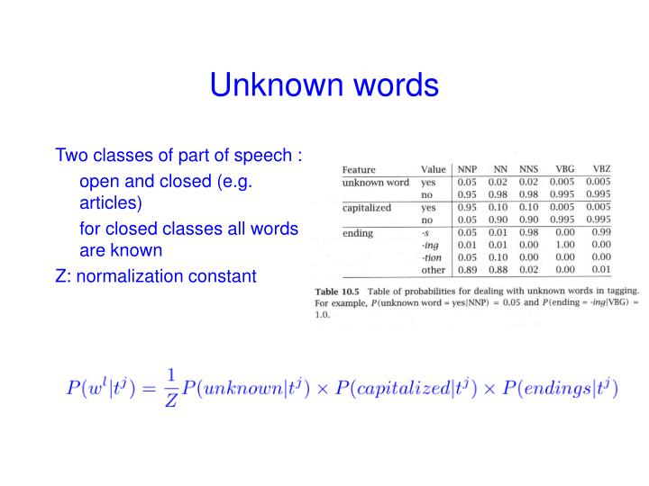 Two classes of part of speech :