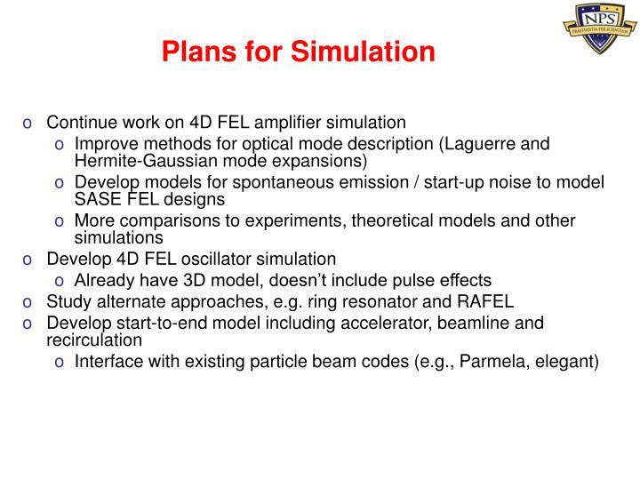 Plans for Simulation