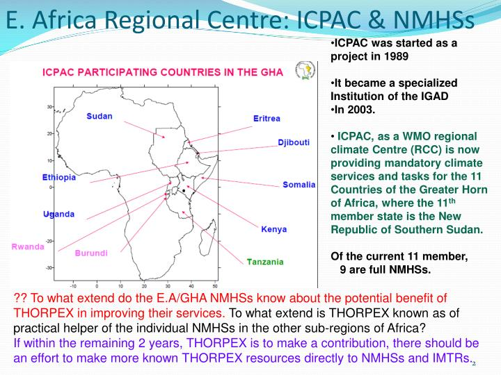E. Africa Regional Centre: ICPAC & NMHSs