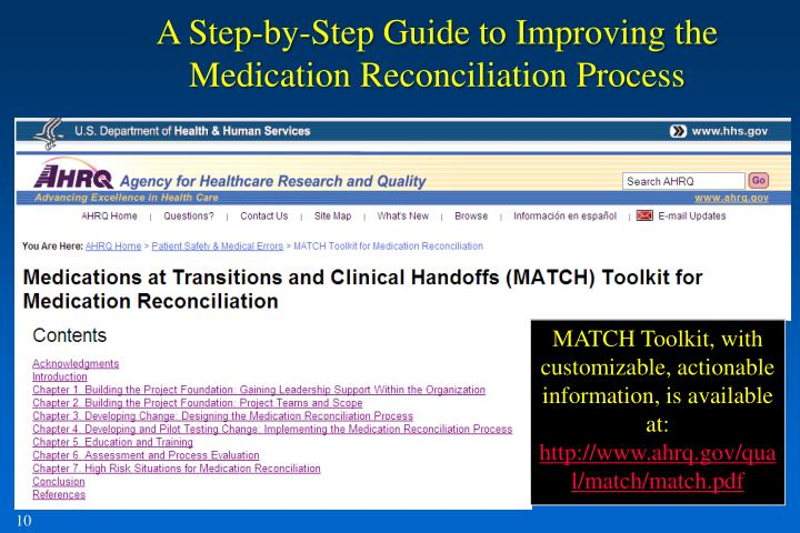 A Step-by-Step Guide to Improving the Medication Reconciliation Process