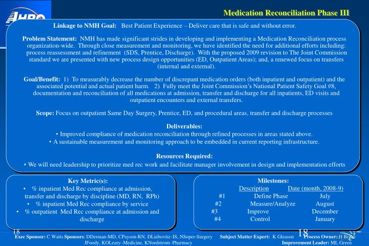 Medication Reconciliation Phase III