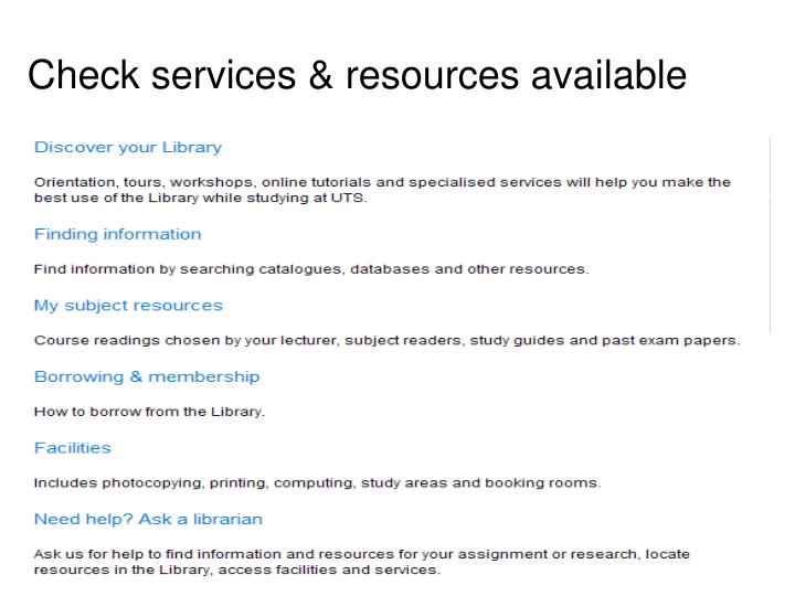 Check services & resources available