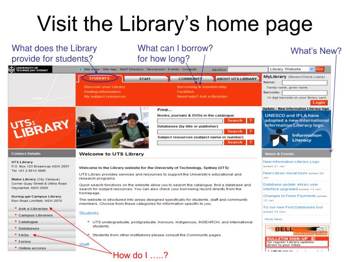 Visit the Library's home page