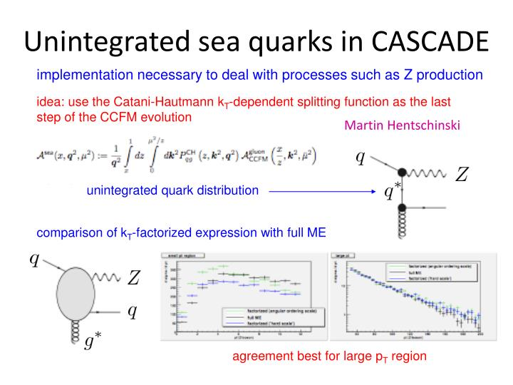 Unintegrated sea quarks in CASCADE