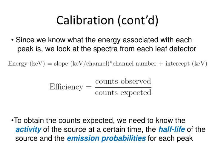 Calibration (cont'd)