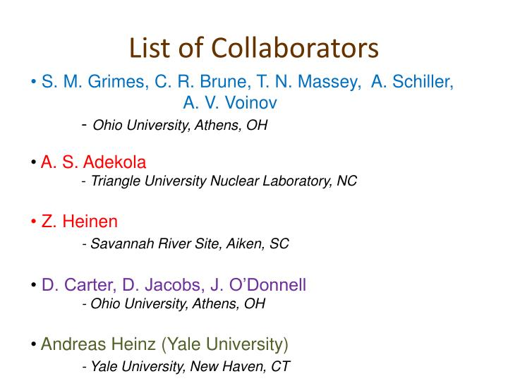List of Collaborators