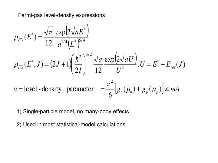 Fermi-gas level-density expressions