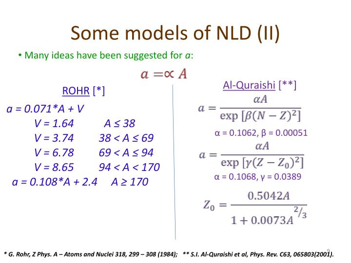 Some models of NLD (II)