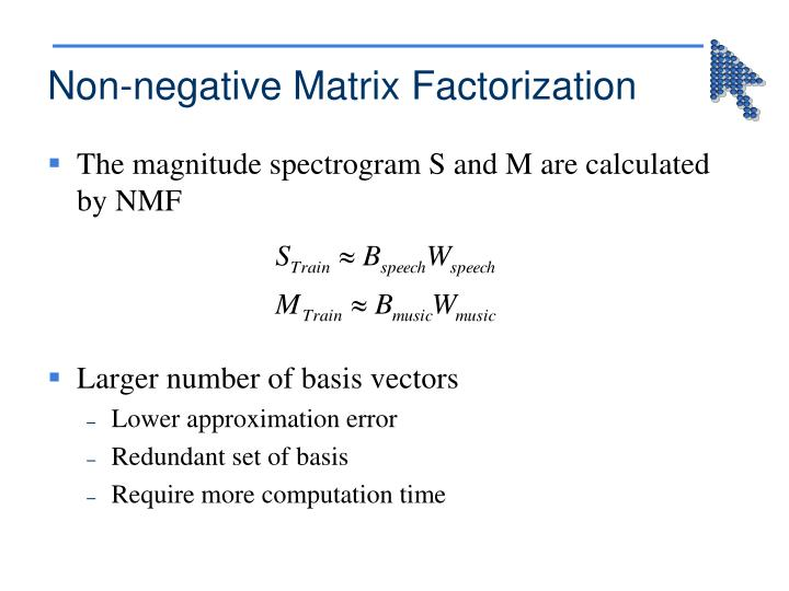 Non-negative Matrix Factorization