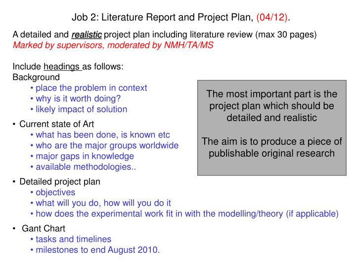 Job 2: Literature Report and Project Plan,