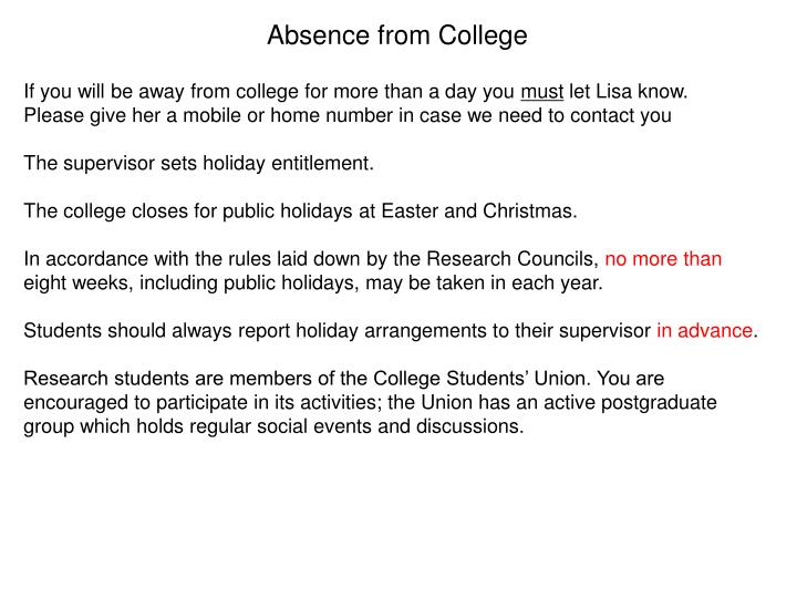 Absence from College