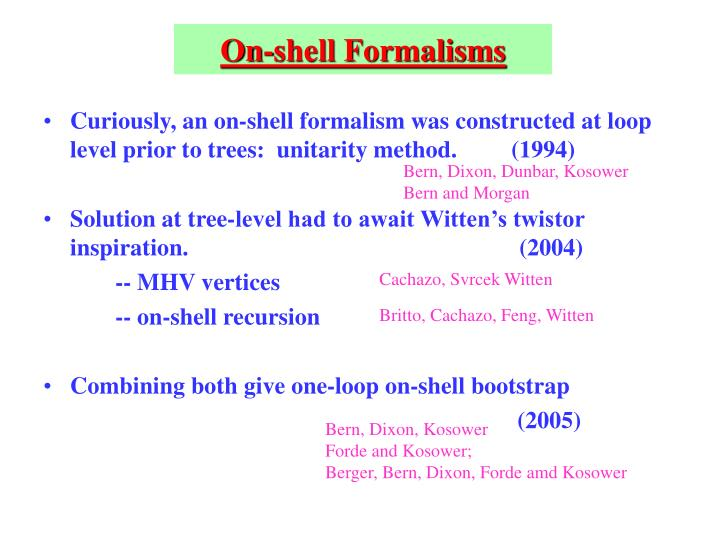On-shell Formalisms