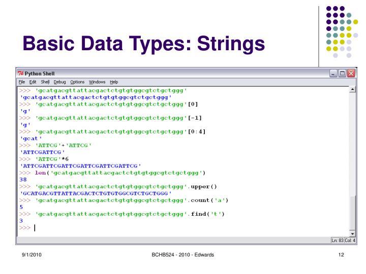 Basic Data Types: Strings