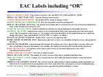 eac labels including or