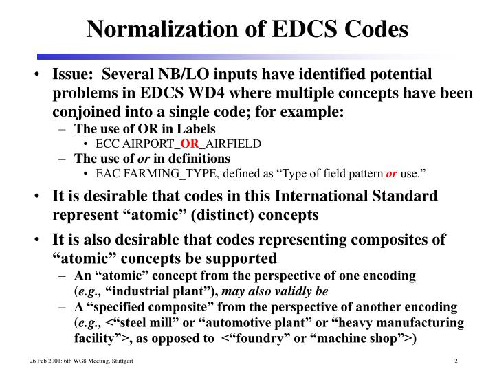 Issue:  Several NB/LO inputs have identified potential problems in EDCS WD4 where multiple concepts have been conjoined into a single code; for example:
