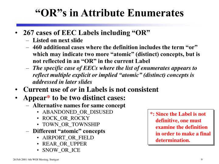 """267 cases of EEC Labels including """"OR"""""""