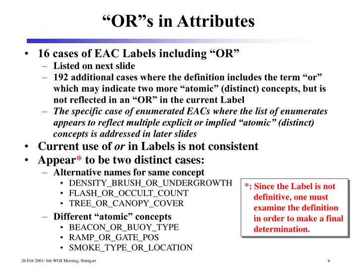 """16 cases of EAC Labels including """"OR"""""""