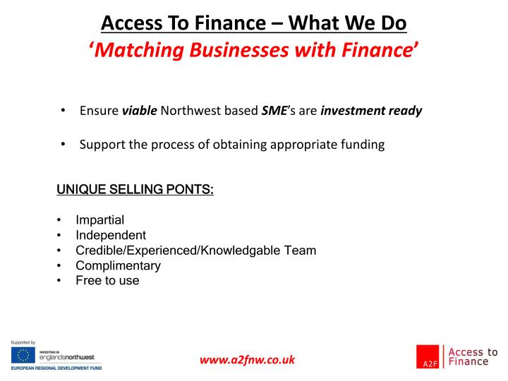 Access To Finance – What We Do