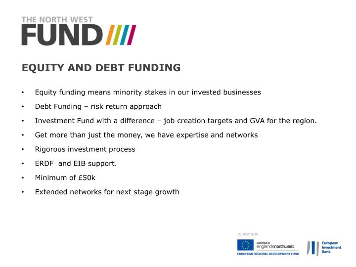 Equity and debt Funding