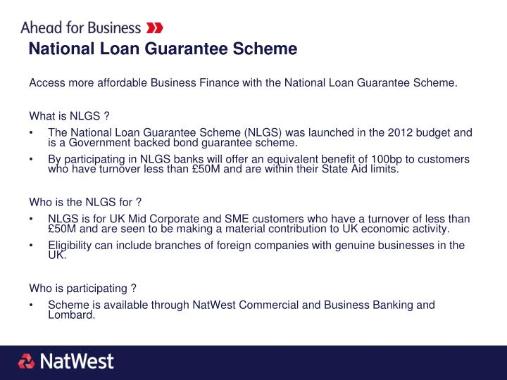 Access more affordable Business Finance with the National Loan Guarantee Scheme.