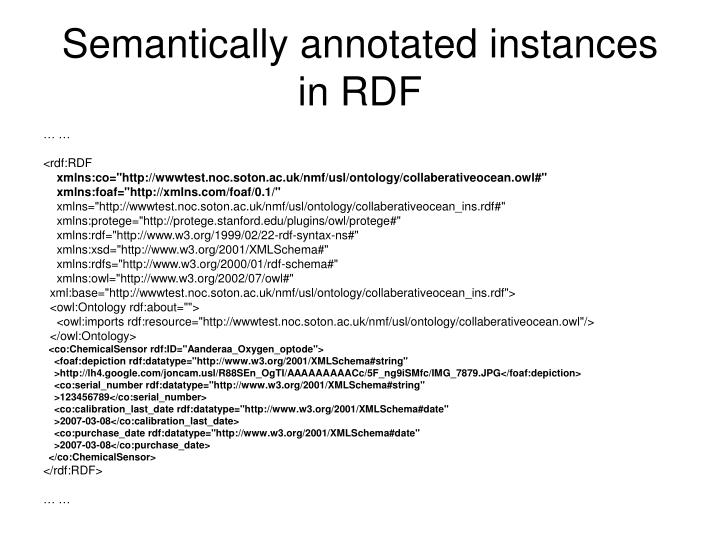 Semantically annotated instances in RDF