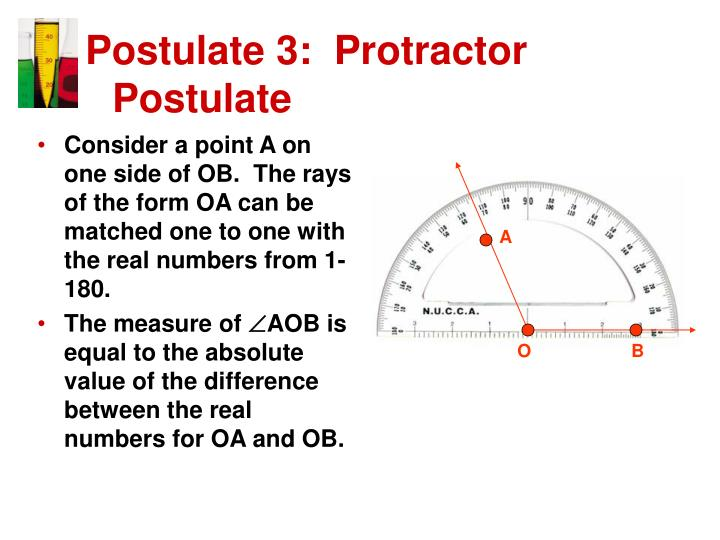 Consider a point A on one side of OB.  The rays of the form OA can be matched one to one with the real numbers from 1-180.