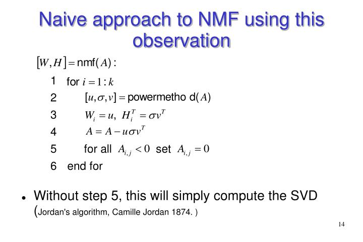 Naive approach to NMF using this observation