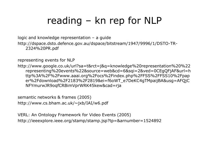 reading – kn rep for NLP