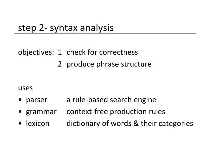 step 2- syntax analysis